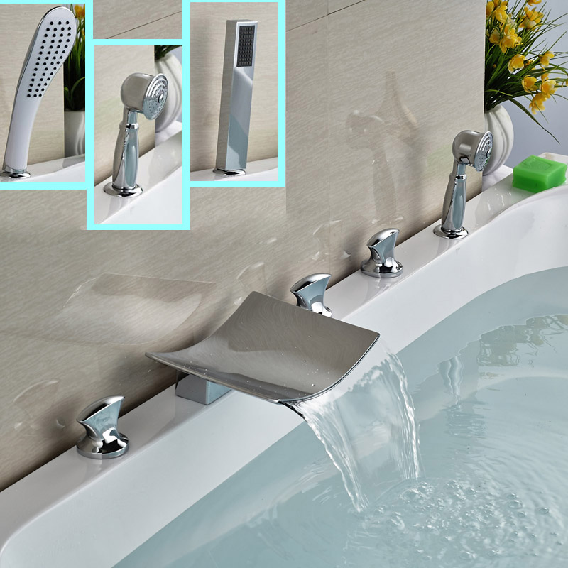 цена на 2016 New Brass Waterfall Spout Bathtub 5pcs Tub Faucet Deck Mount with Hand Shower Widespread 5 Holes