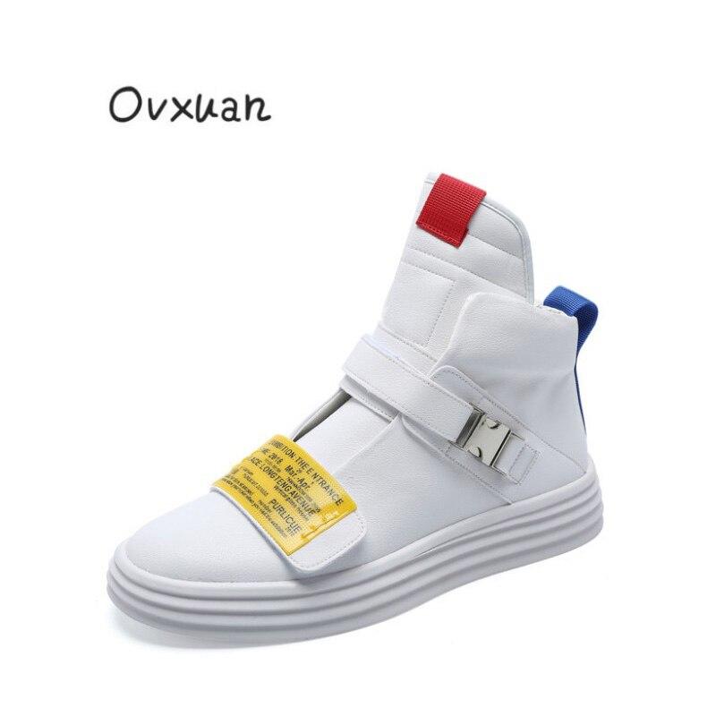 2019 nouveau jaune Ticket Tape mode chaussures de skateboard chaussures plates pour homme baskets hautes Hip Hop chaussures décontracté partie mocassins chaussures pour hommes