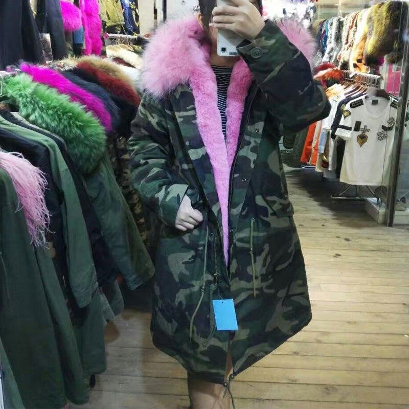 official images reasonably priced hot sale online €414.95 |Parka Camouflage 2017 pour m. Mrs Wear, doublure en fourrure rose  avec capuche en fourrure véritable-in Fausse fourrure from Mode Femme et ...