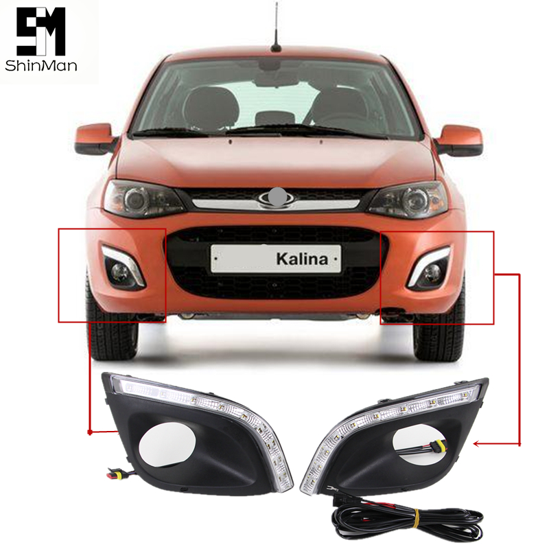 Shinman Car auto DRL daytime running light with yellow turn signal for LADA kalina 2014-2015 DRL car styling led drl for lada kalina 2014 2015 daytime running lights fog lamp cover car styling accessories