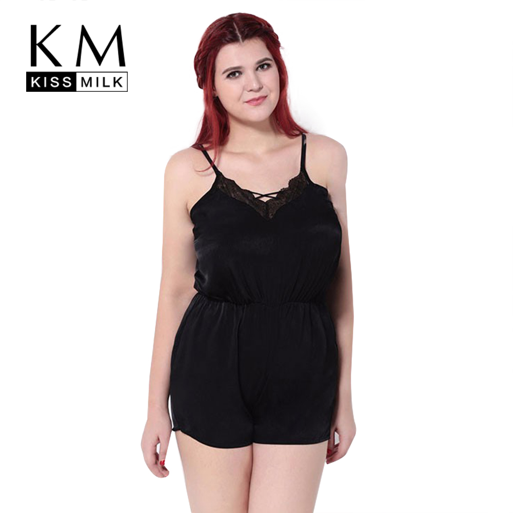 Kissmilk Plus Size New Fashion Women Clothes Solid Black Halter Backless Playsuits Sexy Lace Slim Big