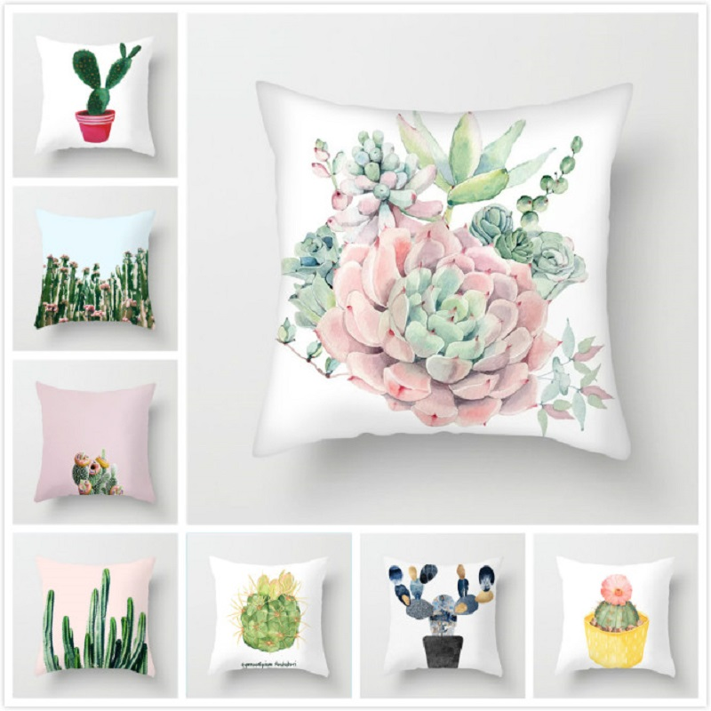 Cactus Succulent Plants Printed Cushion Cover Polyester Home Decor Bedroom Decorative Car Seat Throw Pillow Cover For Sofa