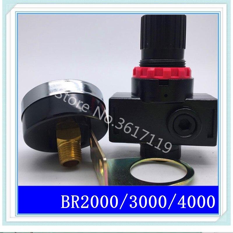 BR2000 BR3000 BR4000 G1/4 3/8 1/2 Pneumatic pump pressure regulating valve regulator air pressure relief BR-3000 BR-4000 br4000 1 2 pneumatic air source treatment air control compressor pressure relief regulating regulator valve with pressure gauge