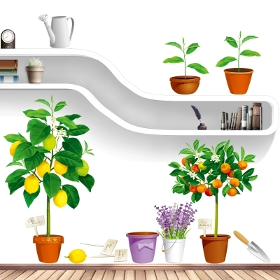 fresh lemon tree flower pots wall stickers living room kitchen home decor orange plants bonsai self adhesive wall papers decals