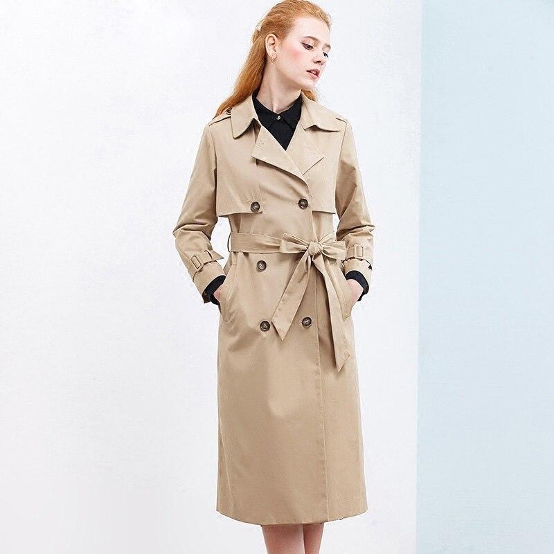 Onlyplus 2019 Long Windbreaker Coat Women Solid Khaki Coat Double-Breasted Winter tie-wrap Fashion   Trench   Spring Sashes Coat