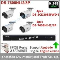 Hikvision DS 7608NI I2 8P 8CH 8ports POE 4pcs Hikvision DS 2CD2055FWD I H 265 5MP