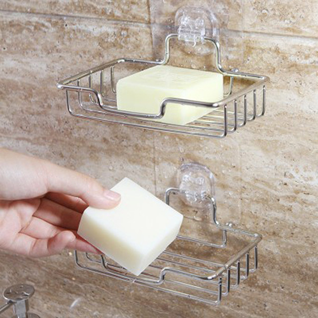 Stainless Steel Non Rust Bathroom Accessories Shower Soap Rack Dish Holder Wall Mounted Stand Storage Tray Suction