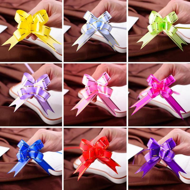 50pcs/lot Novelty Mini Cute Flower Butterfly Party Decor Golden Edge Wedding Garland Pull Bows Ribbon Hand Flower Gift Garland