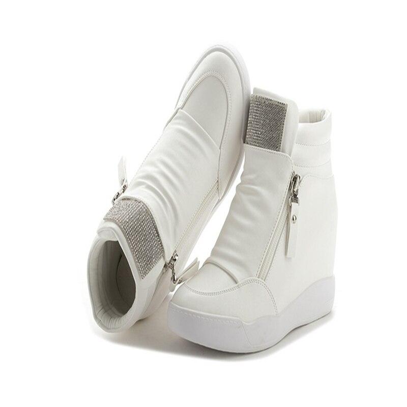 Automne Femme Croissante argent Coins High Bonne Noir Hiver Qualité Top En Casual Slip blanc Hauteur Cuir Nouvelle Sur De Chaussures Dames twdq6t