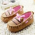 Infantil da criança do bebê do menino da menina do Brown Handmade sola macia Crib Shoes tamanho 0 - 18 M