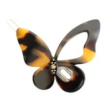 Korean Style Cute Butterfly Shaped Bobby Pins Ladies Women Leopard Amber Color Hollow Out Hair Clips Acrylic Side Bangs Barrette