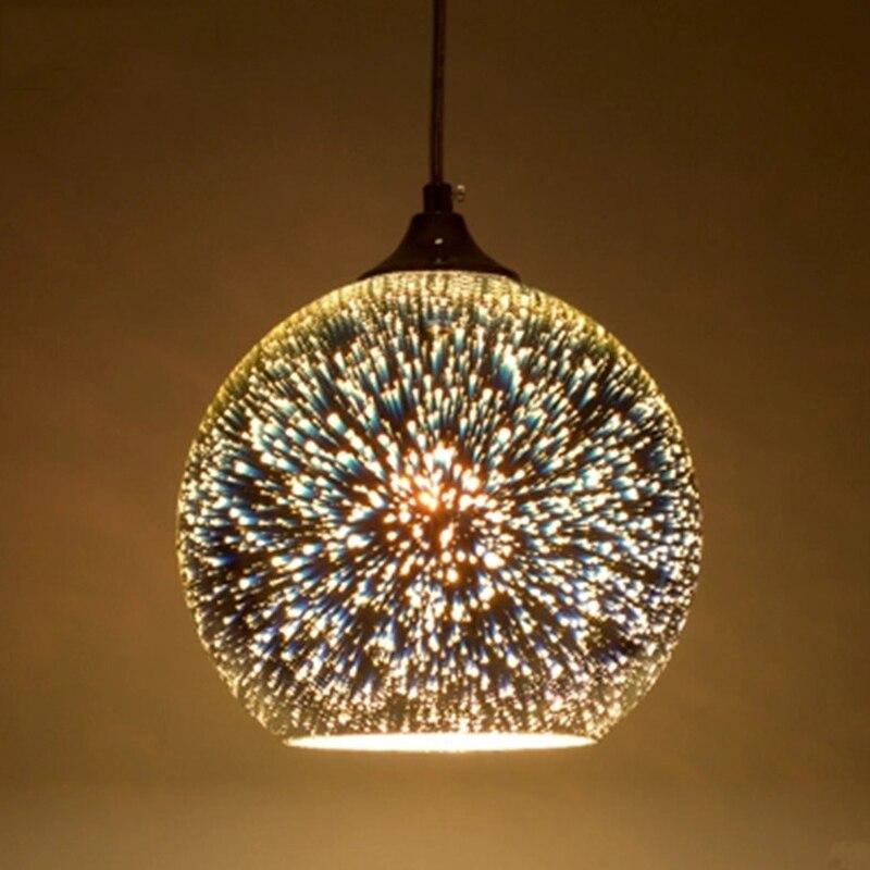 Nordic Loft 3D Glass Etching Lampshade Pendant Lamp Creative Single Head LED Pendant Light For Restaurant Bar Hotel Office Cafe