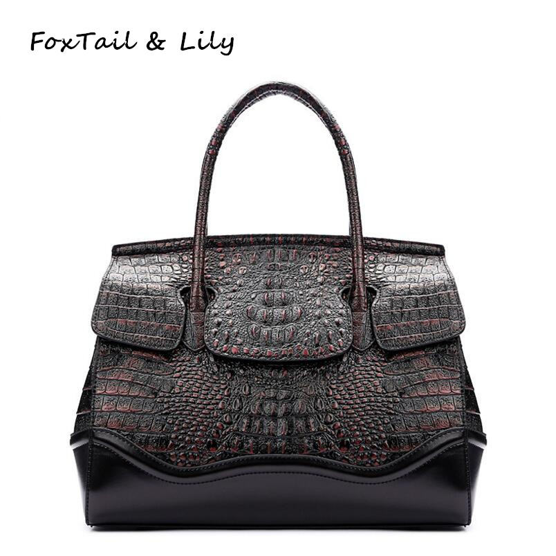 FoxTail & Lily Genuine Leather Crocodile Bags Handbags Women Famous Brands Fashion Patchwork Design Tote Shoulder Messenger Bags foxtail