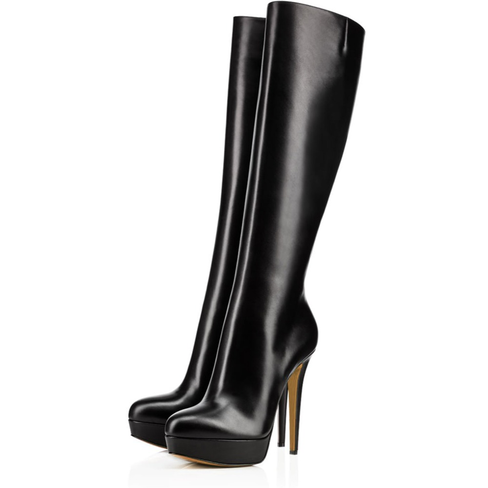 Black Patent Leather Round Toe Platform Knee High Boots Women High Heel Winter Shoes Ladies Stiletto Heel Long Boots with Zipper стоимость