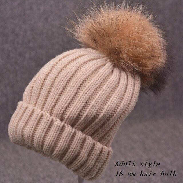 Зимние шапки для женщин Нейтральный вязание hat 100% енот волосяная луковица с толстой шерсти cap шапочка бонне шапочки шапка толстые женщины с
