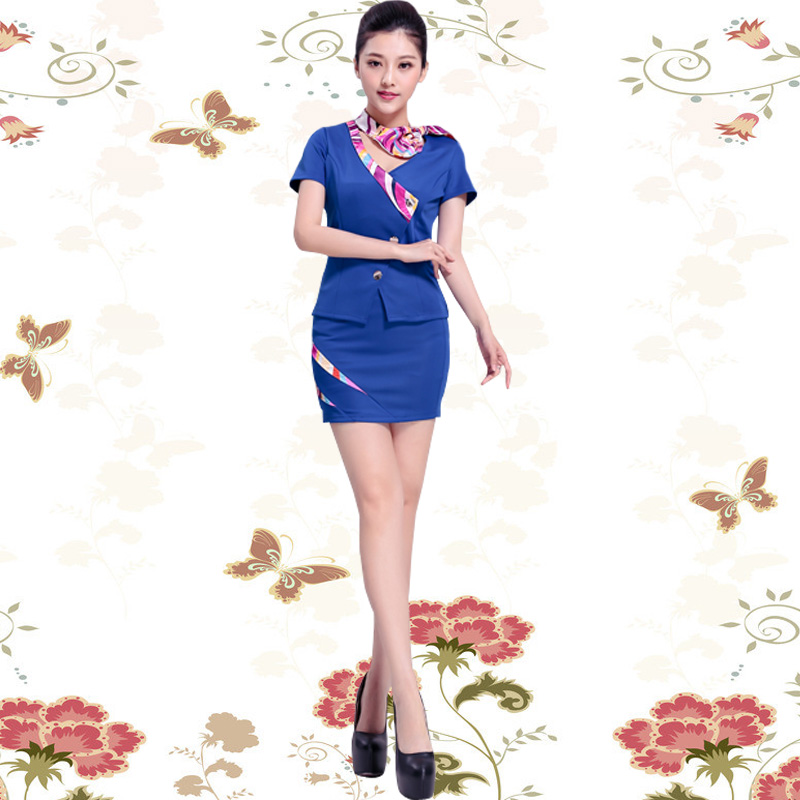 Fashion Sexy Slim Occupation Work Suit Uniform Hotel Front Desk Set with Airline Stewardess Female Summer Suit