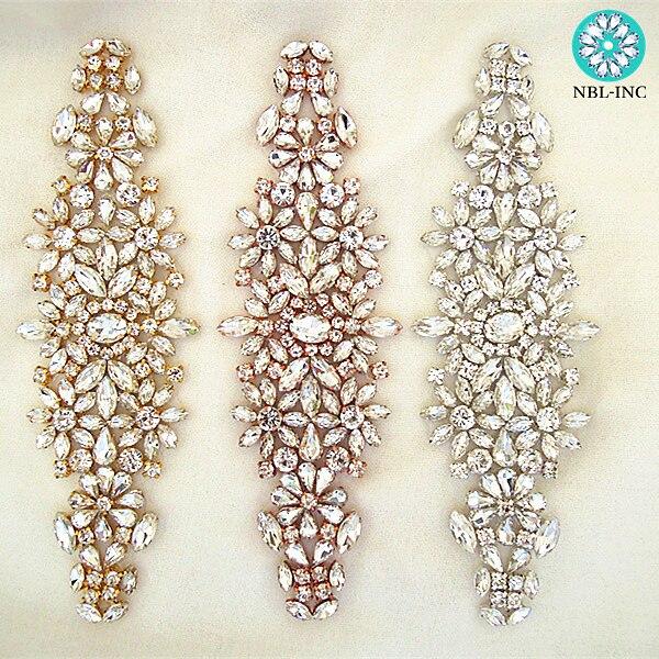 (30 個) 卸売シルバーラインストーンアップリケゴールドブライダルビーズ縫製ウェディングドレスのためのクリスタルアップリケアイアンで WDD0633  グループ上の ホーム&ガーデン からの ラインストーン の中 1