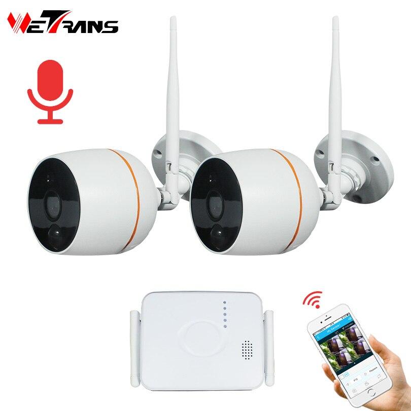 Wetrans CCTV Système de Caméra de Sécurité HD 1080 p Wifi Mini NVR Kit Vidéo Surveillance IP Sans Fil à Domicile Caméra Ensemble Audio en plein air