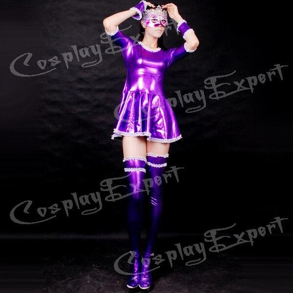 Free Shipping DHL Sexy Fancy Dress Adult Fashion Purple Color Sexy Shiny Metallic Zentai Dress Catsuit