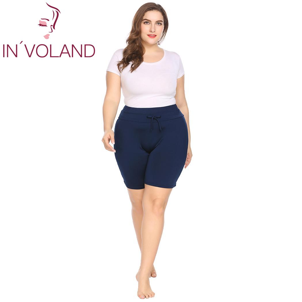 IN'VOLAND Plus Size Women   Shorts   XL-4XL Summer Beach Drawstring Waist Large Solid Pool   Shorts   Board   Shorts   Swimwear Big Size