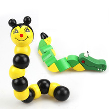 Kids Toys Wooden Insect Puzzles Caterpillar Bee Crocodile Twisting Game 3D Wooden Puzzle for Children Education Toys Puzzles(China)