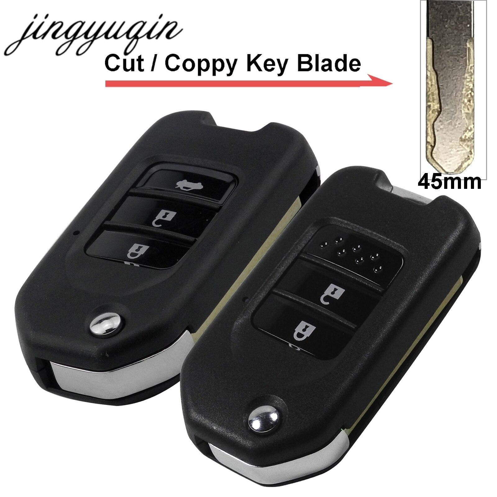 Jingyuqin 3 Boutons De Voiture À Distance Flip Clé Shell Fit pour Honda Accord Civic Ville CR-V Jazz XR-V Vezel HR-V Comprennent coupe Ébauche de Clé
