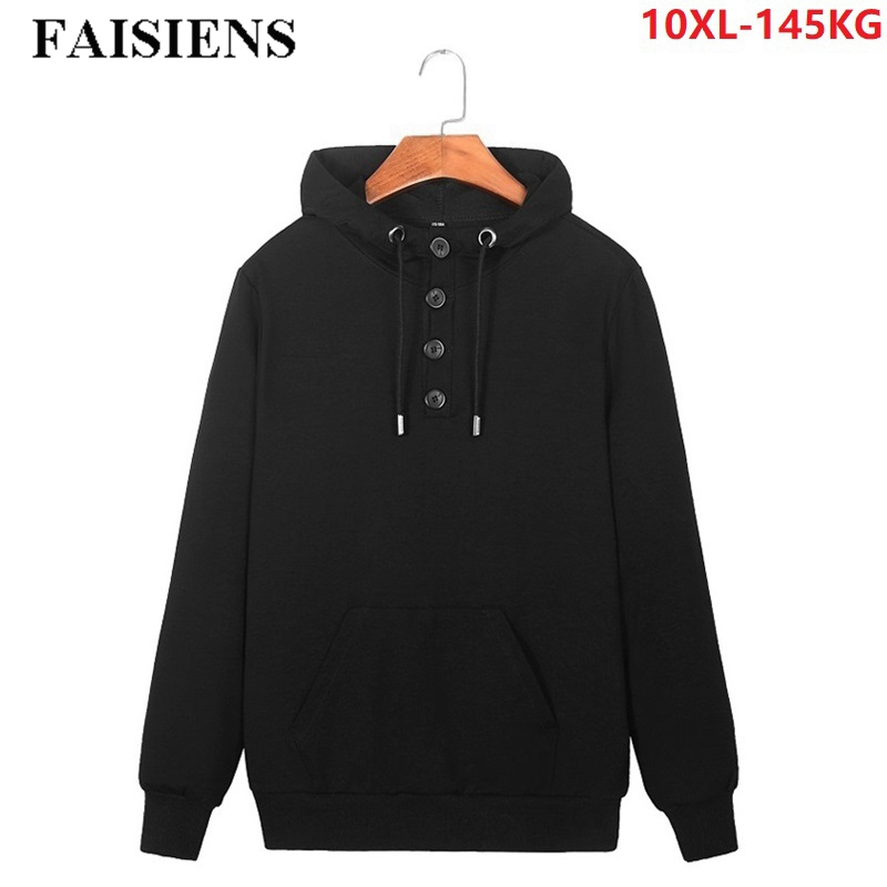 FAISIENS Sweatshirts For Men Plus Size 8XL 9XL 10XL Casual Loose Hooded Pullover Coat Black 48 50 52 54 Men Hoodies Sweatshirts