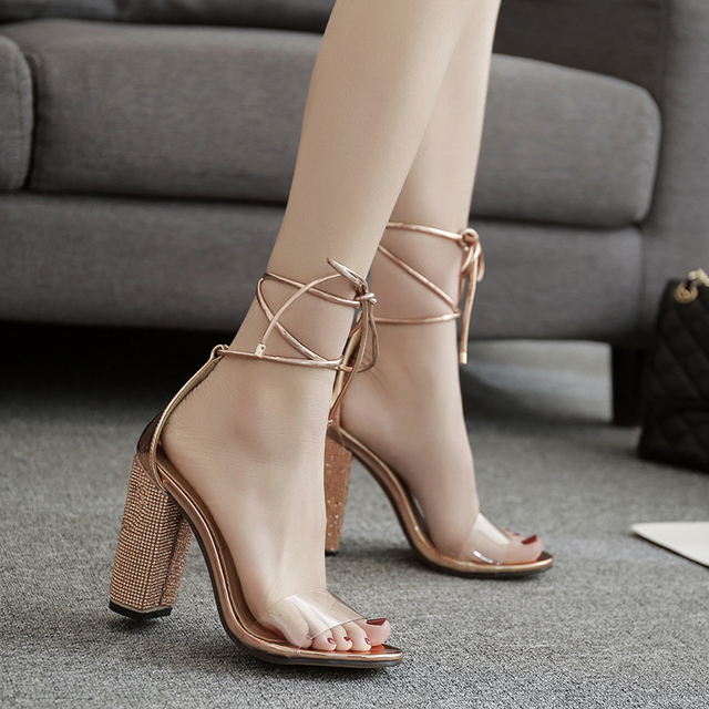 23ce09a3cb22 High Fashion Round Toe clear pvc straps sandals rose gold crystal Cross lace -up block heel high heel party sandals summer shoes