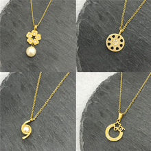Round Pendant Necklace for Women Simple Female Long Chain Heart Necklace Pearl Pendant Crystal Zircon Necklace For Women Gift cute simple design faux pearl pendant necklace for women
