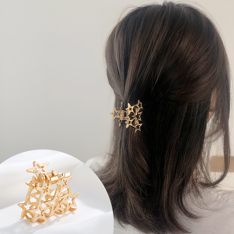 CHIMERA Metal Hair Claw Crab Simple Small Hollow out Star Clips for Women Stylish Gold Hairpin Clamp Grips Accessories