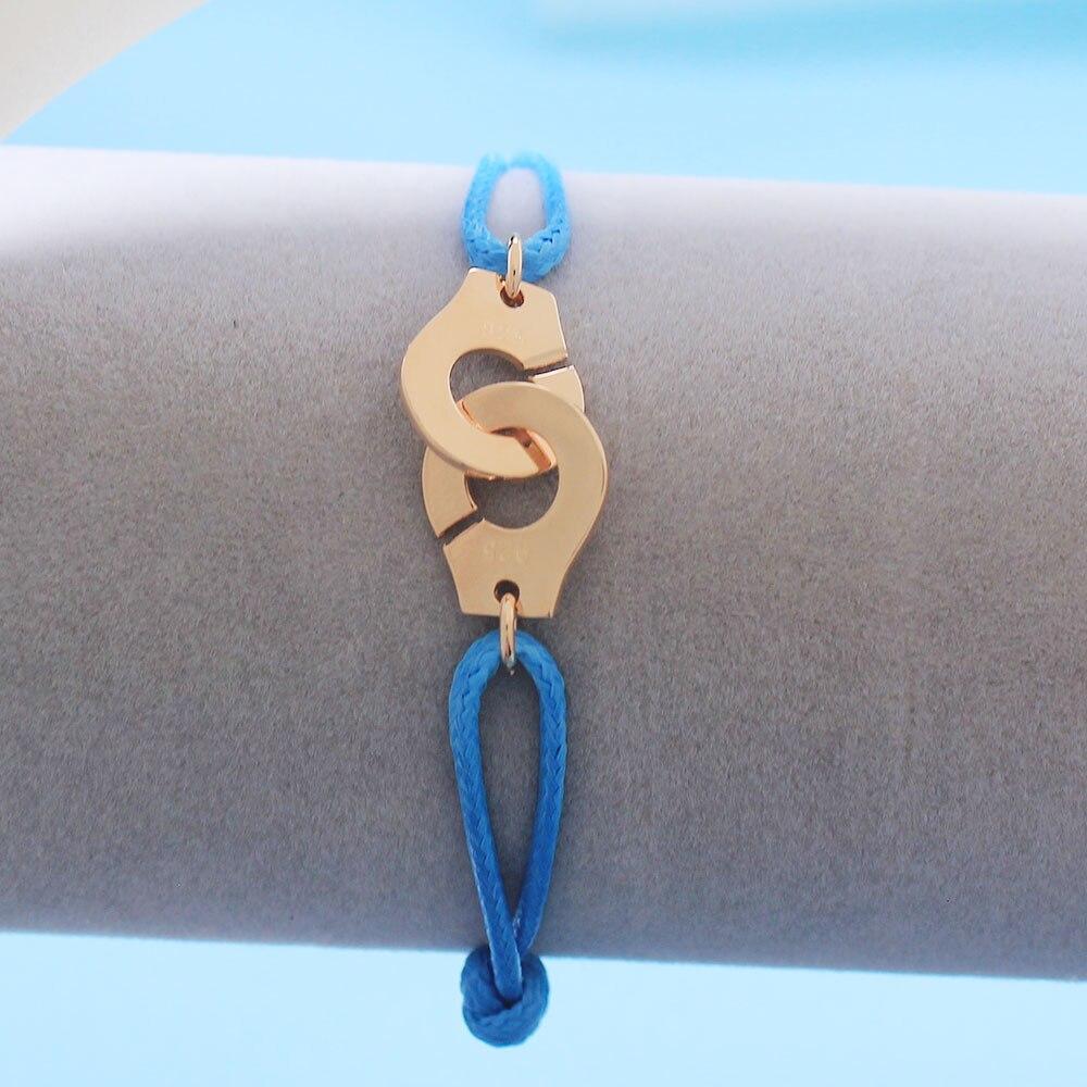 Мужские ювелирные изделия из стерлингового серебра 925 браслет наручники для женщин Bijoux с регулируемой веревкой 925 Серебряный кулон браслет для мужчин - Окраска металла: BM