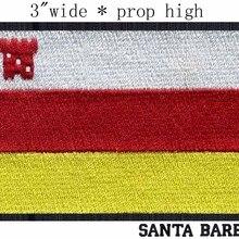 """Санта-Барбара, США флаг вышивка нашивка """" Широкая /государственный баннер/красный и золотой/башня патчи"""