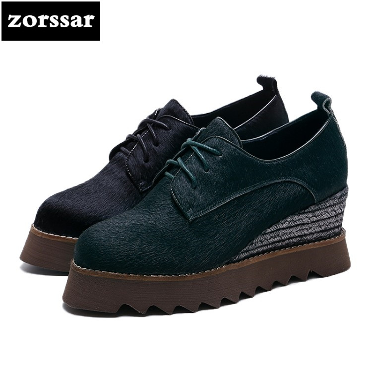 {Zorssar} 2018 Spring NEW Genuine leather horse hair female shoes casual Wedges pointed toe High heels women platform pumps shoe genuine cow leather spring shoes wedges soft outsole womens casual platform shoes high heel round toe handmade shoes for women