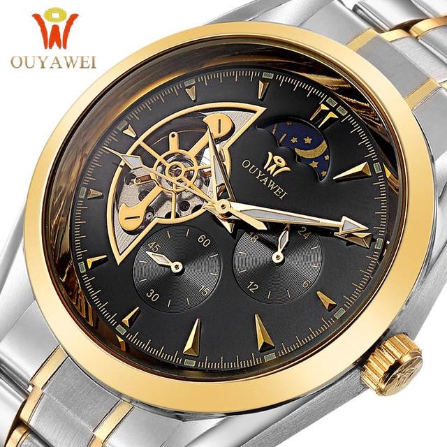 2019 OUYAWEI Simple WristWatch Men GOLD Mechanical Top Brand Luxury Automatic Clock Stainless Steel Business Skeleton Watch