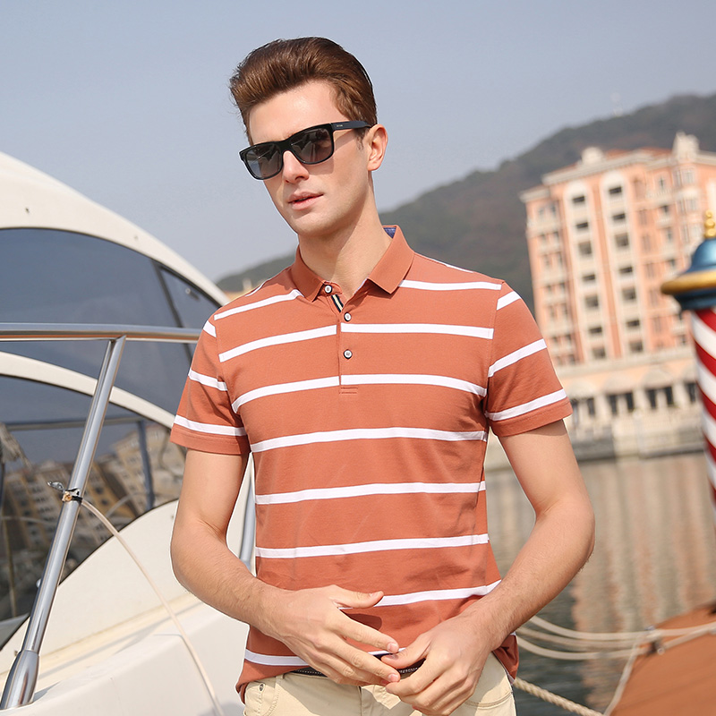 2019 New Fashion Brand Designer   Polo   Shirts Men Top Grade Summer Slim Fit Short Sleeve Striped boy Poloshirt Casual Men Clothing