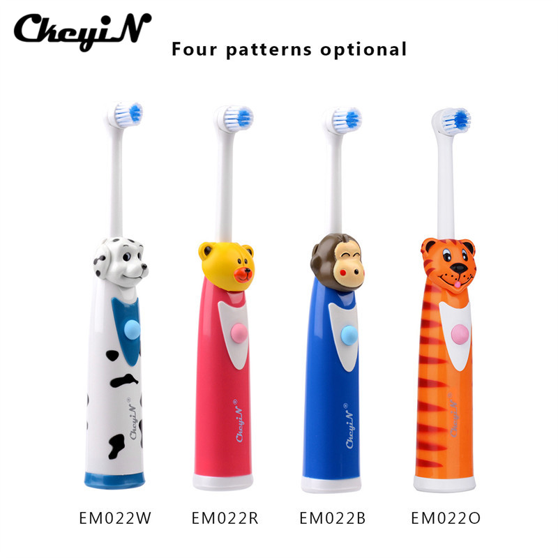 CkeyiN 4Pcs Cartoon Children Kids Electric Toothbrush Sets With 8 Brush Head Rotation Battery Operated Teeth Brush Oral Care 49 2017 teeth whitening oral irrigator electric teeth cleaning machine irrigador dental water flosser professional teeth care tools