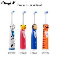 CkeyiN 4Pcs Cartoon Children Kids Electric Toothbrush Sets With 8 Brush Head Rotation Battery Operated Teeth