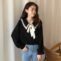 2 Colors Mihoshop Ulzzang Korean Korea Women Fashion Clothing Autumn Lapel Casual Bow Dolls Loose Long Sleeve Blouse