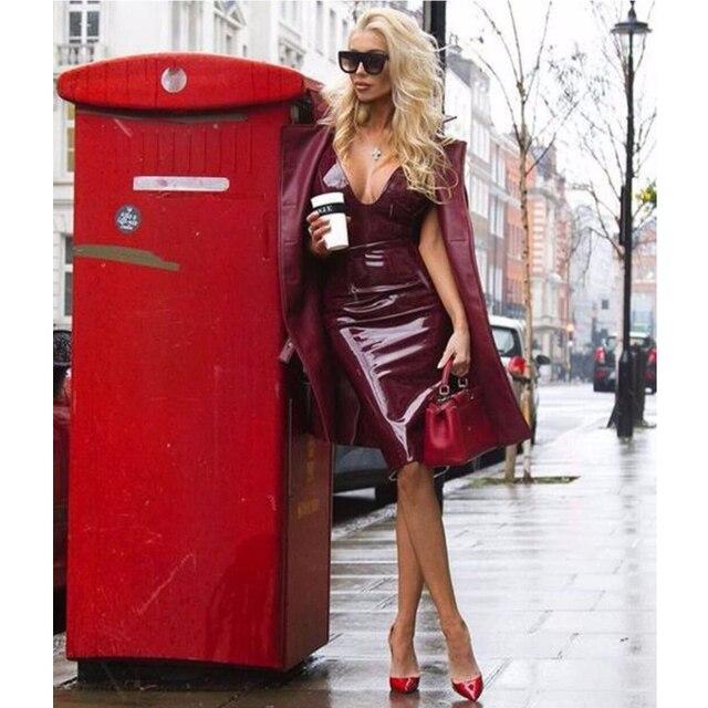 2017 sommerkleid Spaghettibügel Pu-leder Kleid Sexy Schwarz Weinrot Frauen Bleistift Celebrity Cocktailpartykleider Sexy Qualität