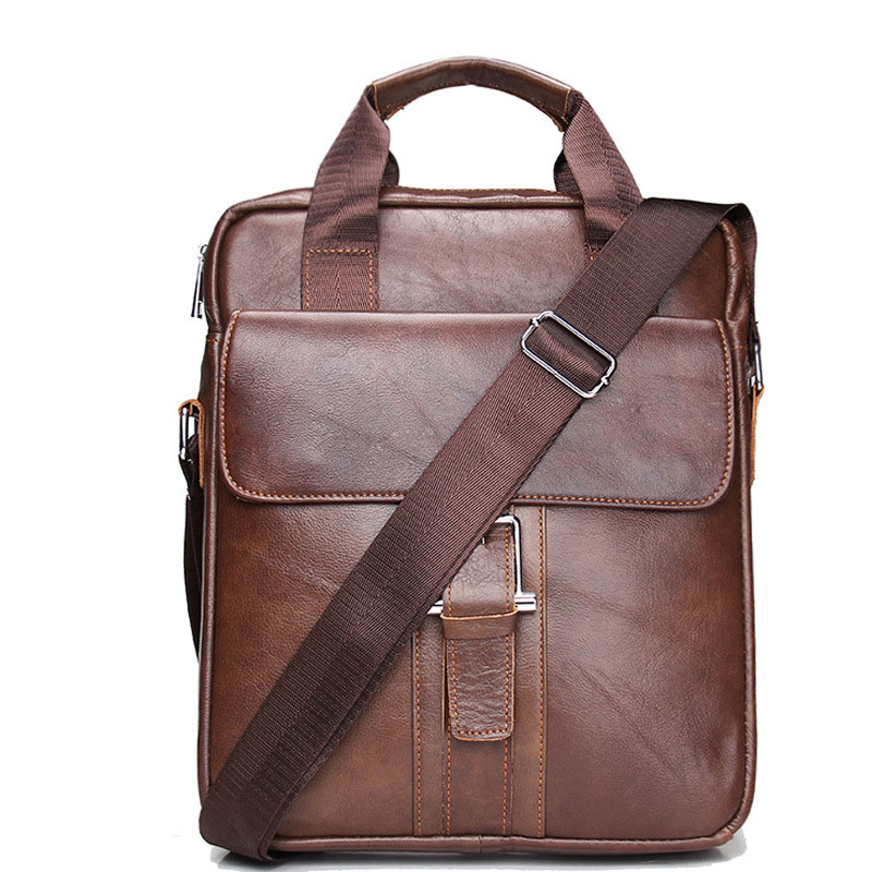 ФОТО Hot Sale New Fashion Genuine Leather Man Messenger Bags Cowhide Leather Male Cross Body Bag Casual Men Commercial Briefcase Bag