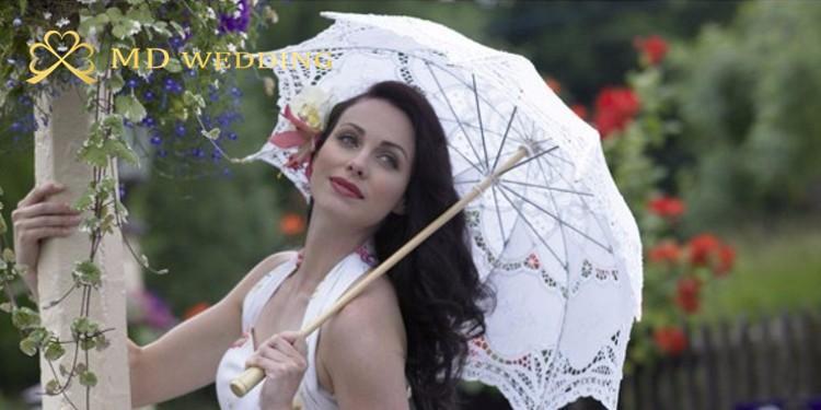 New Lace Umbrella Cotton Embroidery White/Ivory Battenburg Lace Parasol Umbrella Wedding Umbrella Decorations Free Shipping 44