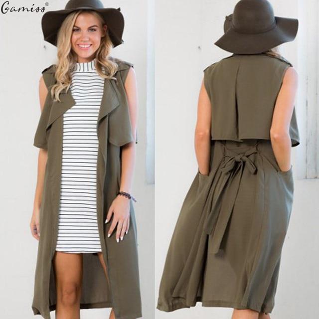 94bbf4a2e18 Gamiss Autumn Woman Waistcoat Casual Cool Sleeveless Turn-down Collar Belt  Tie Pocket Formal Work Wear Women Trench Long Vest