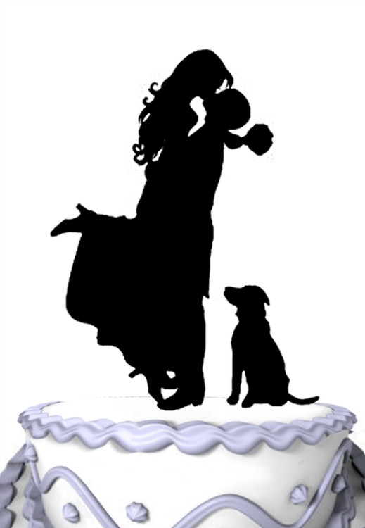 wedding cake topper silhouette with dogs meijafei wedding cake topper groom hold with pet 26501