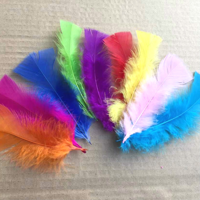 50pcs 21 color Turkey feather diy jewelry accessories color feather turkey hair kindergarten handmade decorative feather AC062 in Feather from Home Garden