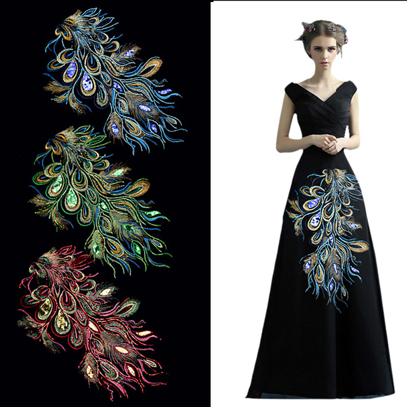 Pc diy vintage peacock sequin embroidered lace patch for