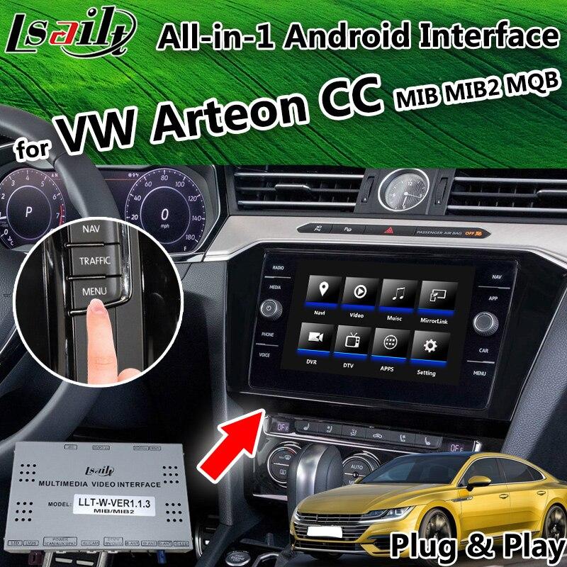 Tudo-em-1 Android 6.0/8.0 Caixa de Navegação GPS para Volkswagen CC/Arteon MQB MIB Vídeo suporte à Interface Android Auto CarPlay