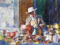 Chinese and Australia Artist Chao Tiejun's WorkCraftsman Watercolor Painting Portrait Wall Art Home Decor Number Realist