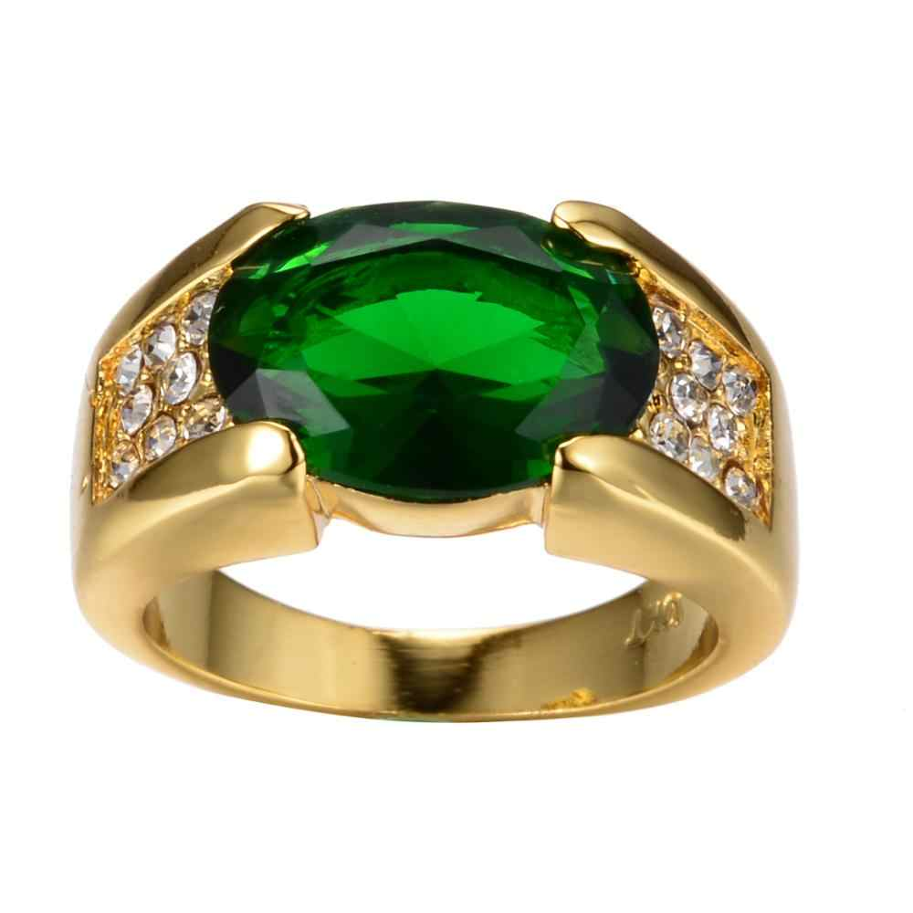 Luxo masculino feminino grande anel de pedra verde lindo amarelo anel de ouro vintage anéis de casamento para homem e mulher