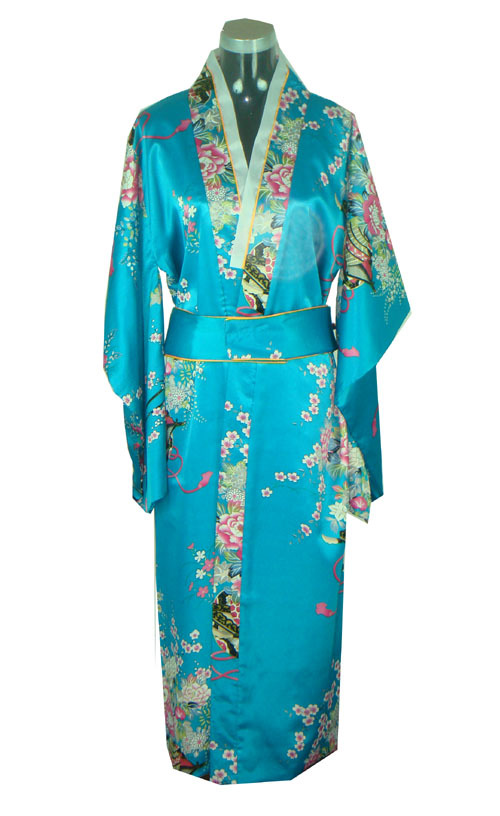 fae771dbfd Promotion Fashion Blue Japanese Women s Silk Kimono Vintage Performance  Costume Novelty Evening Dress Floral One size JK044-in Asia   Pacific  Islands ...