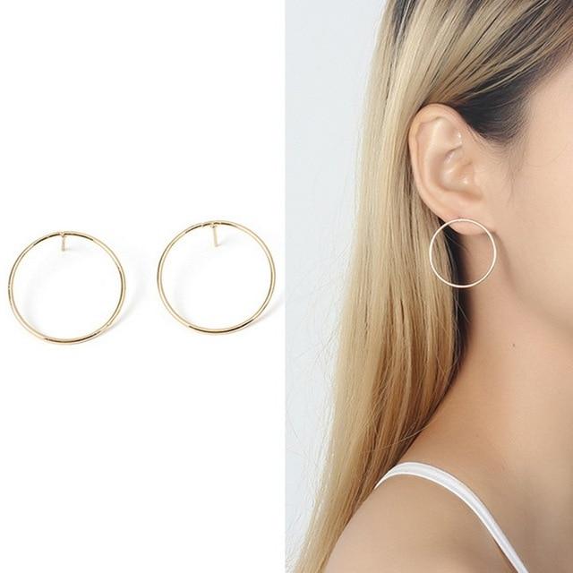 c0e218c8dd5c3 US $1.26 35% OFF 2018 Simple Design Geometric Round Circle Stud Earrings  for Women Korean Ear Studs Earing Brincos Ear Jewelry Girls Gift RY40-in  Stud ...